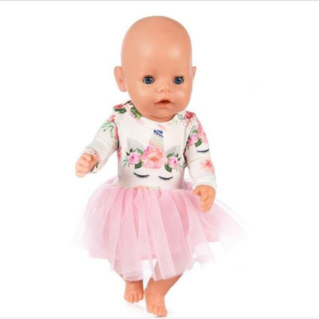 Venda quente Roupa Da Boneca Bebê Nascido Fit 18 polegada 40-43 centímetros Unicórnio Acessórios Da Boneca vestido Roupas Para O Bebê presente de Aniversário Festival