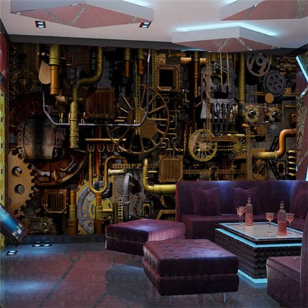 Modern Living Room Table Furn Custom Mural 3d Retro Punk Industrial Wind Cafe House Bar ...