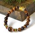 Sorte mantra oração contas pulseiras Olho de Tigre natural pedra de Gema Pulseira homens pulseira pulseira de presente de Natal pulseiras jóias 0287