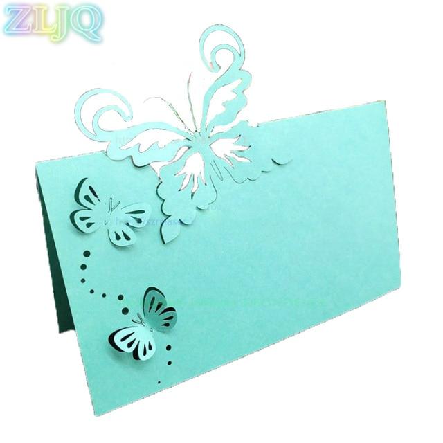 Zljq 50pcs Wedding Table Name Card Fashion Butterfly Invitation Card