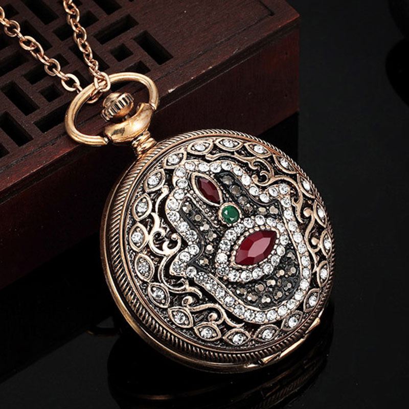 Fashion Turkish Jewelry Long Chain Watch Pendants Hamsa Hand Evil Eye - Fashion Jewelry