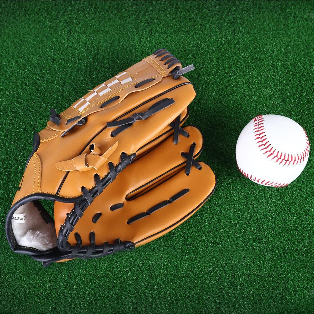 PVC Leather Left Hand Baseball Glove Outdoor Sports Brown Glove 11.5/12.5 Softball Baseball Practice Equipment for Men Women