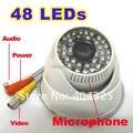 """1/3 """"420 Linhas de TV Sony CCD 48 IR Leds Day Night Vision Segurança Color Dome Áudio CCTV Camera MIC"""