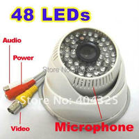 1/3 420 TV Lines Sony CCD 48 IR Leds Day Night Vision Color Security Dome Audio CCTV Camera MIC