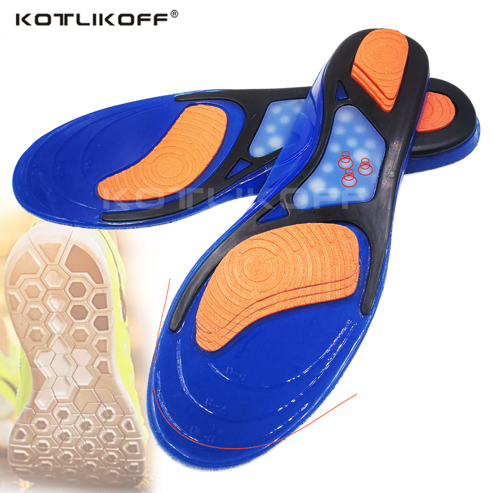 KOTLIKOFF Silicone Gel Sports Insoles Foot Pad Massaging Insole Plantar Fasciitis Heel Arch Support Orthopedic Shoe Accessories