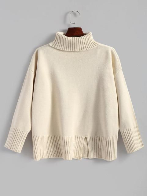 Wipalo Autumn Female Loose Turtleneck Slit Oversized Pullover Sweater Warm Fashion Solid Elegant Slim Knitwear Women Clothing