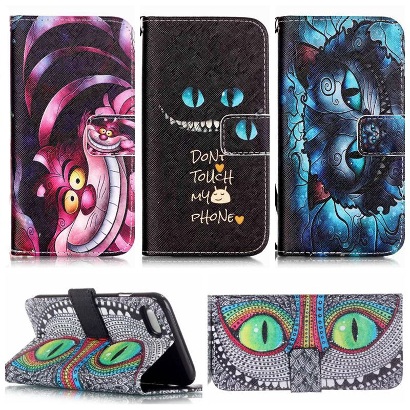 Cheshire Cat Style PU Leather Case For Samsung Galaxy Note 3 S5 S4 S3 & Mini & for iPhone 5 5s 4 4s 5c for LG G2 & Mini