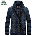 AFS JEEP 2016 denim jacket Men military jeans jacket cotton male jackets and coats Brand clothing Spring Autumn Plus size 4XL