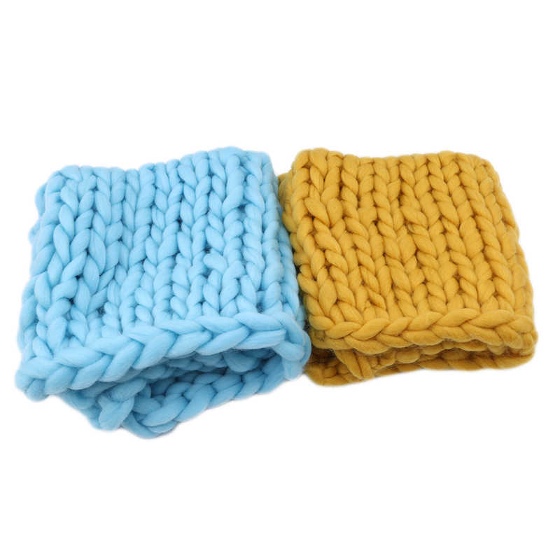 New Arrivals knitted Wool Crochet Baby Blanket Newborn Photography Props Chunky Knit Blanket Basket Filler