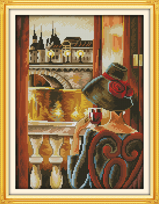 Lady Look Out Of The Window Printed Canvas DMC Counted Chinese Cross Stitch Kits Printed Cross-stitch Set Embroidery Needlework