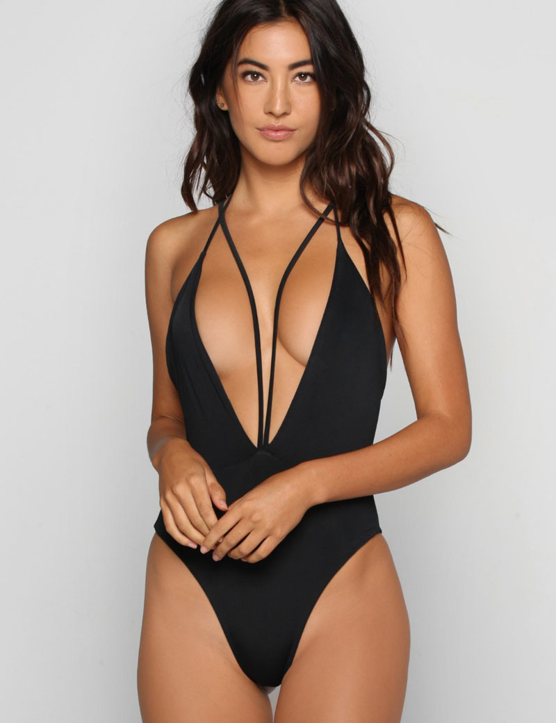 e9a18ae696d7b New 2016 Sexy Deep V-Neck One Piece Swimsuit Swimwear Black Backless  Monokini Bodysuit Women Beach Sports Bathing Suits S-XXL