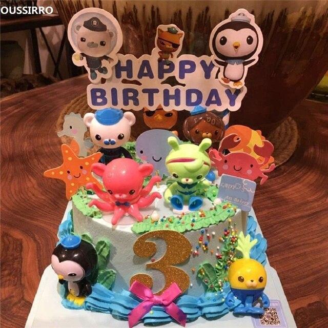 8Pcs Set Octonauts Action Figures Toys Birthday Gift Seabed Animals 24pcs Cake