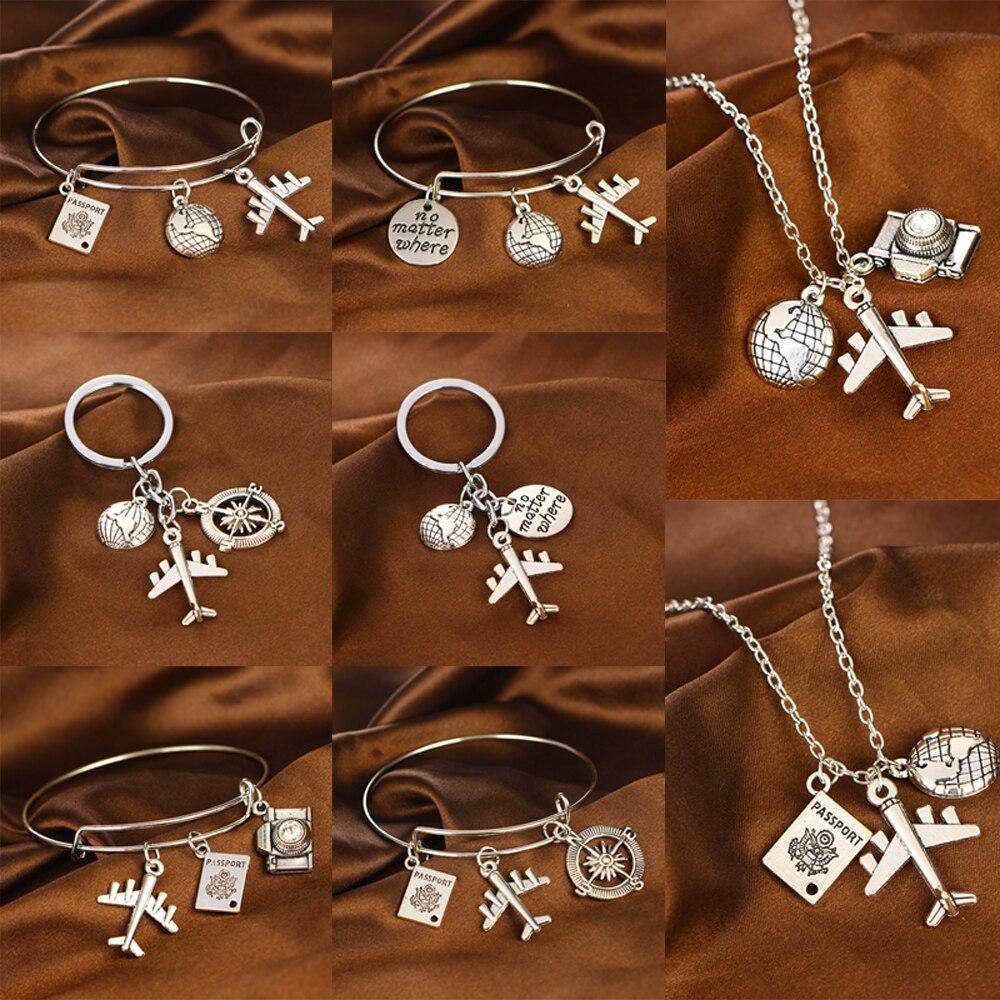 Globe Aircraft Passport Camera Compass Pendant Wanderlust Travelers Necklaces Traveling Jewelry Love Travel Bangle Keychain Gift