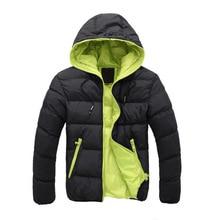 2017 Новая Мода Случайные зимняя куртка мужчины Пальто мужские с капюшоном Хлопка парки Молнии с длинным рукавом Мужская с капюшоном вниз хлопка куртки