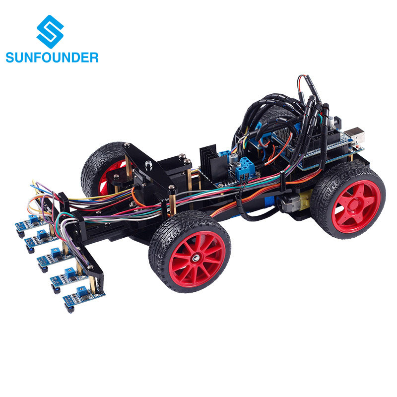 Smart Car Kit for Arduino Uno R3 Electronic Diy Obstacle Avoiding Line Tracing Light Seeking Robot Smart Car Kits Black Color