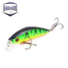 Купить с кэшбэком Minnow Fishing Lures 7cm 7.8g 3D Eyes Plastic Hard Bait Crankbait Wobblers With 6# Hooks Artificial Japan Swimbait Peche Tackle