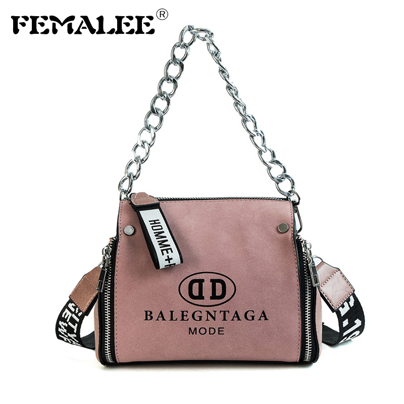 FEMALEE Barrel Shaped Fashion PU Leather Scrub Crossbody Messenger Handbags Letter Wide Strap Chains Design Bucket Shoulder Bag