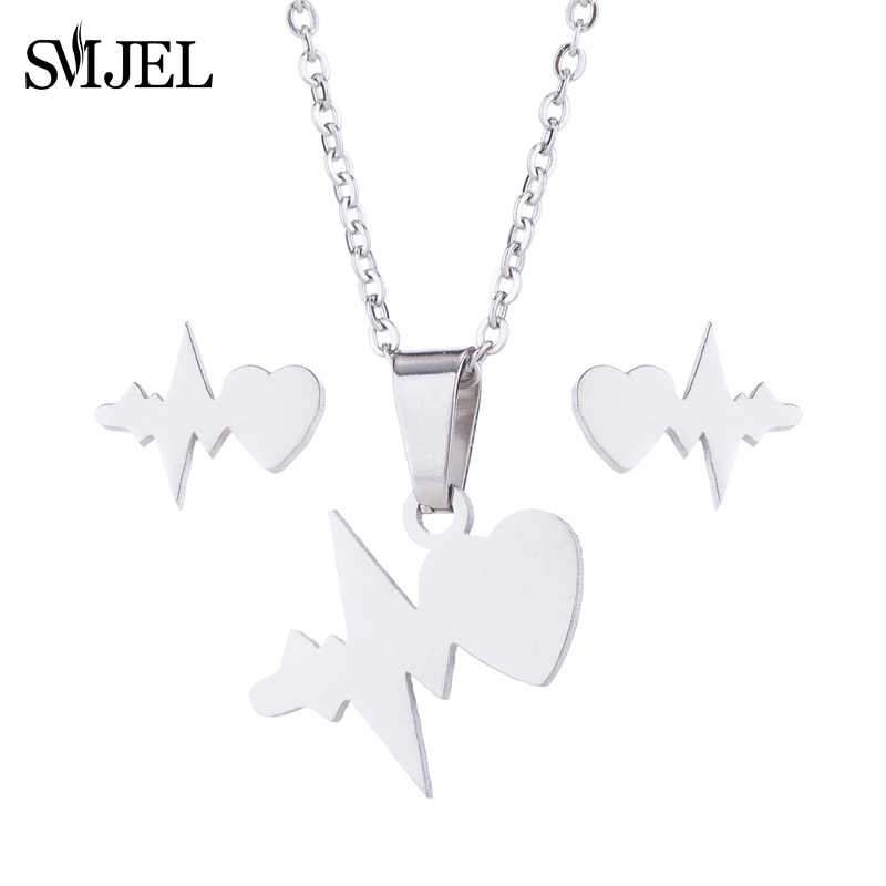 SMJEL Stainless Steel Jewelry Heartbeat Heart Charm Necklaces Earrings Circle Necklace Set Women LOVE JESUS Necklace Doctor Gift