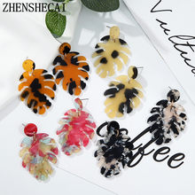 Hot Bohemian tree leaves long Acrylic Dropearrings Multi-color Statement Women fashion Plant Jewelry luxury Acetate Jewelrys(China)