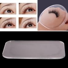 1Pcs Reusable Silicone False Eye Lashes Holder Pad Tray Holder for Eyelashes Extensions Makeup Tools Rectangle Round #248883