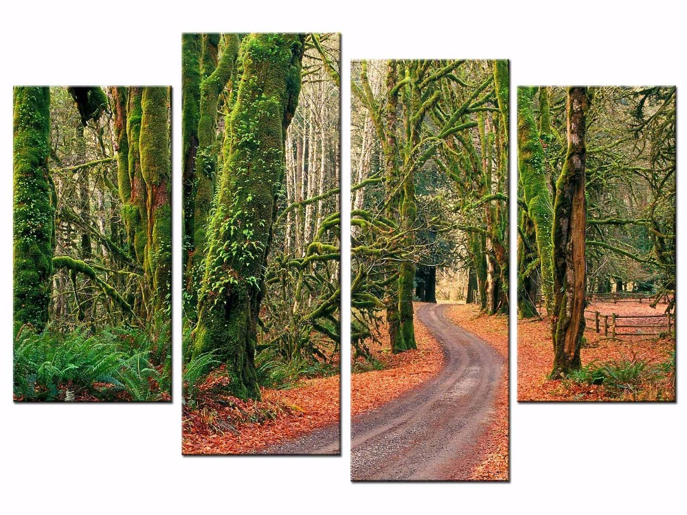 4 pieces Canvas Prints Artwork Wall Art Home Decor Forest Road Nature Modern Giclee on Stretched and Framed Canvas JO13 011 in Painting Calligraphy from Home Garden