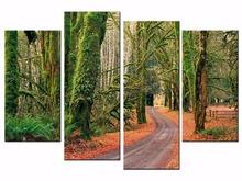 4 pieces Canvas Prints Artwork Wall Art Home Decor Forest Road Nature Modern Giclee on Stretched and Framed Canvas JO13-011 недорго, оригинальная цена