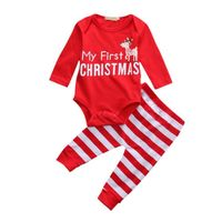 Newborn Baby Girl Clothing My First Christmas 2Pcs Romper Bodysuit Striped Pants Outfit Set