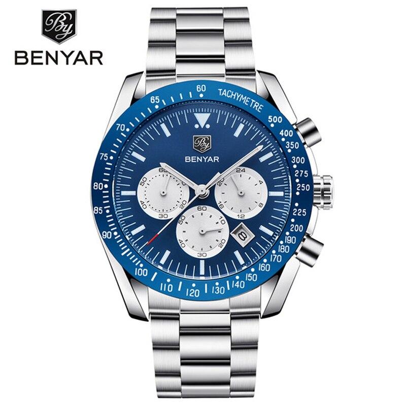 где купить Top Brand Luxury Benyar Men Sport Watch Chronograph Stainless Steel Quartz Army Military Watches Clock Male Relogio Masculino по лучшей цене