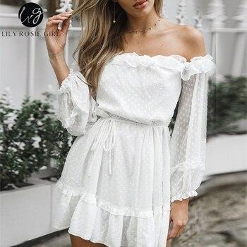 15702cd35939c Zambak Rosie Kız Zarif Parti Beyaz örgü elbise uzun kollu elbise Plaj Boho  Seksi Elbise Fırfır Katı Şifon Yeşil Elbise Vestidos