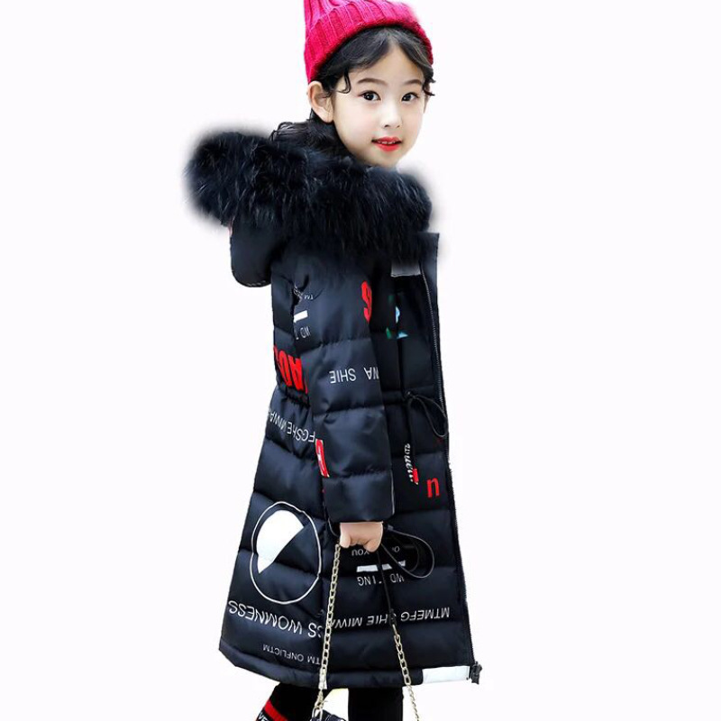 Girls Winter Fur Collar Down Parkas Children Thicken Windproof Long Down Jacket Teenagers Hooded Warm Outerwear AA51904 2015 hot new winter thicken warm woman down jacket hooded fox fur collar coat outerwear parkas luxury mid long plus 3xxxl size