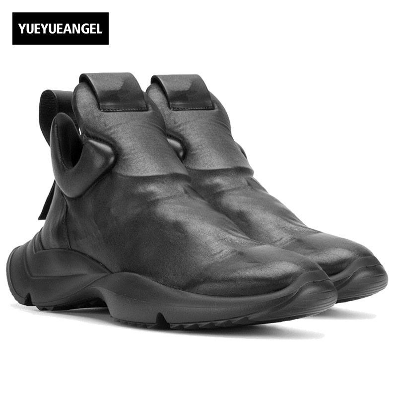 Fashion Men Gothic Thick Platform Sneakers High Top Genuine Leather Shoes Male Slip On Casual Footwar Street Dancing Zapatos