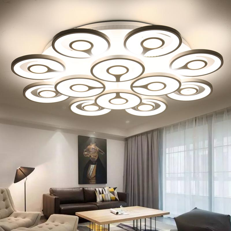 Modern Acrylic Ceiling Led Lamp Living Room Bedroom Kitchen Ceiling Lights Fixtures White Metal ring Decor Home Lighting 220V
