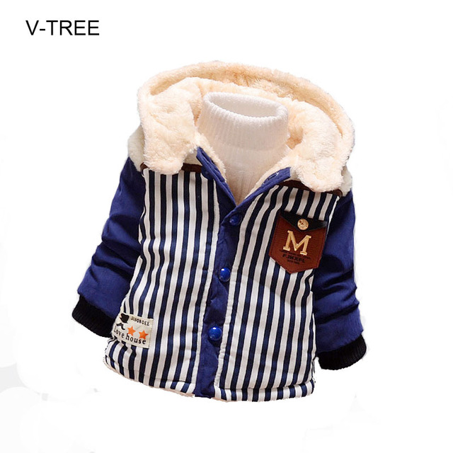 Children's jackets for boys Boy striped winter coat Cotton plus velvet thick cotton jacket Baby winter clothing