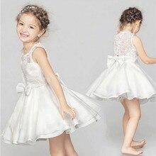 New Girls Princess Dress Wedding Birthday Party Ceremonies Clothing Teenage Girls Sleeveless Bow Lace Dress Summer Kids Clothes