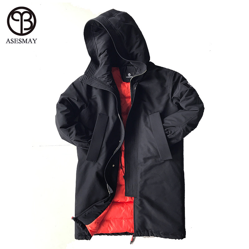 Asesmay High Quality 90% White Down Jacket Hood Men Winter Black Parka Polyester Thickness Warm Coat European Size Free Shipping