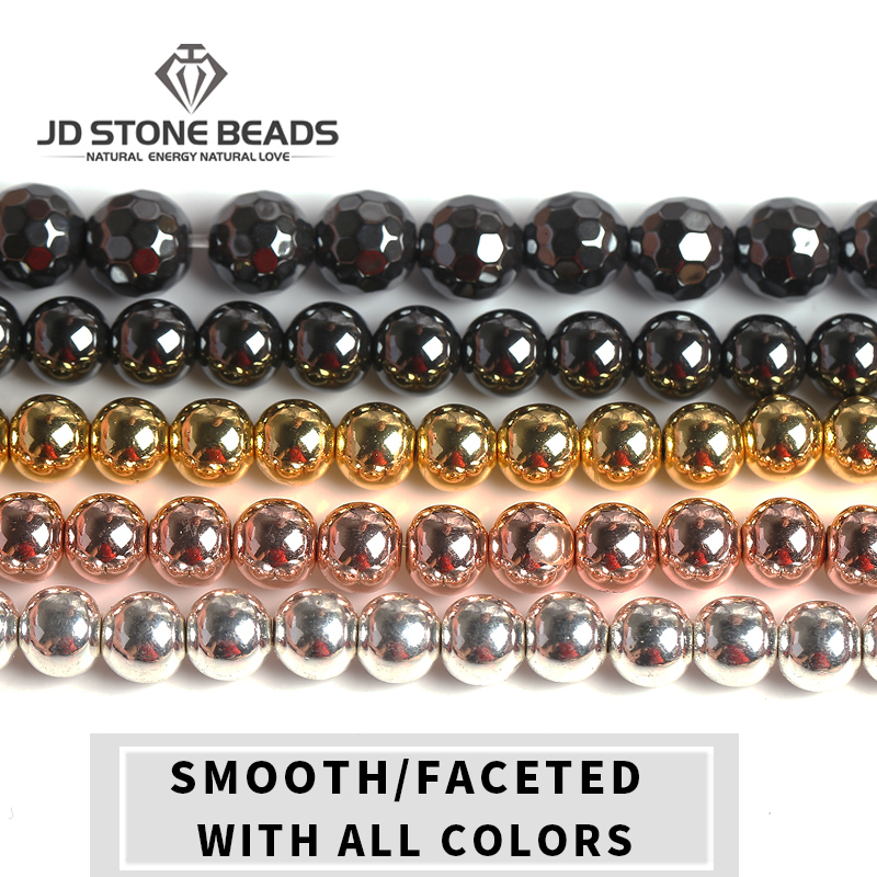 Natural  Hematite Black/Gold /Silver /Rose Gold/  Round Loose Beads 4 6 8 10 12 DIY Necklace Bracelet Jewelry Making Accessories