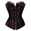 Sexy Gothic Lace Cover Lace up Boned Overbust Corset and bustier Top Body Shaper with G-string Plus Size S-2XL