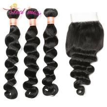 Loose Deep Wave Bundles With Closure FEEL ME Hair Brazilian Human 3 Remy