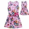 2016 Girls Dress Impressão Completa Pokemon Trajes Crianças Casual Vestido Listrado Rosa Robe Para O Bebé Verão Ropa de Playa