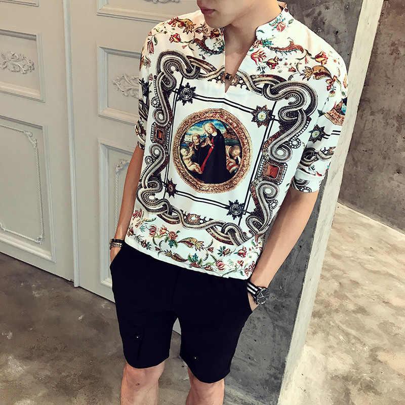 ブラックゴールドホワイトバロックシャツ男性2018夏プルオーバーカジュアル緩いシャツ男性ビーチホリデープリントファンシーシャツ男性