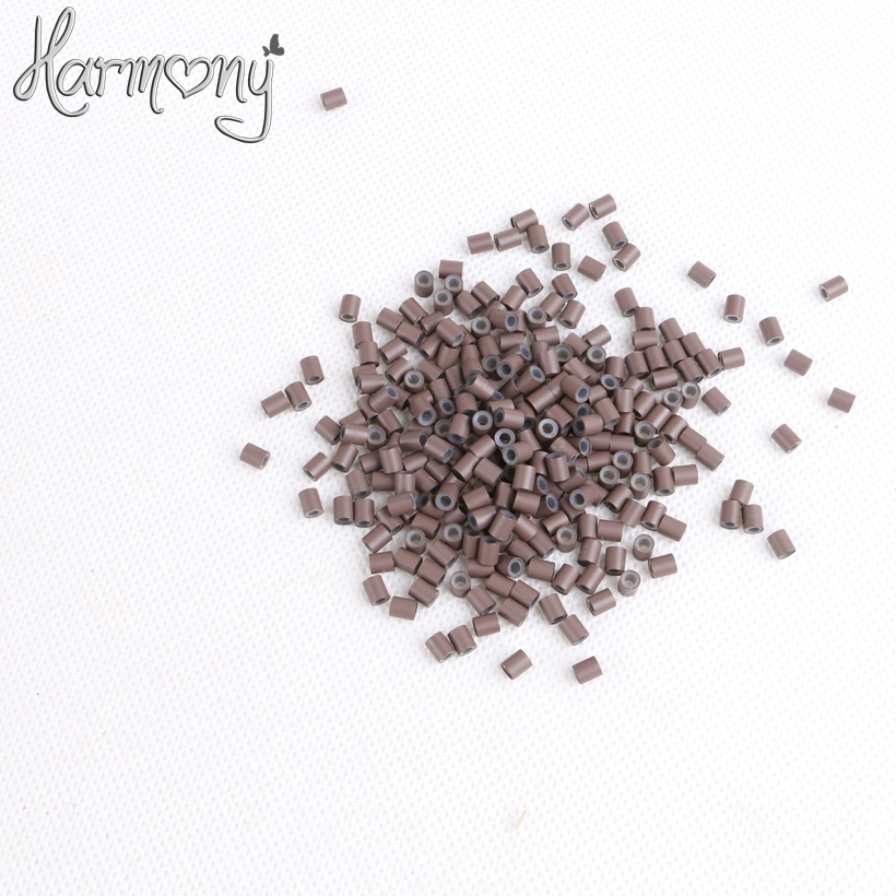 (1000pcs/lot) 3.4*3.0*4mm 5# Medium brown silicone copper tube micro silicone lined copper rings tube beads rings