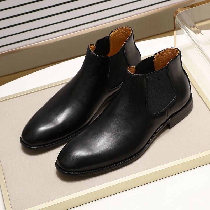 2019 bottes Chelsea en cuir véritable chic hommes de mode sans lacet bout simple noir bottine hommes haut robe top chaussures taille 39 46