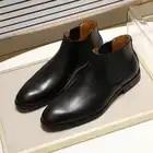 2019 bottes Chelsea en cuir véritable chic hommes de mode sans lacet bout simple noir bottine hommes haut robe top chaussures taille 39 46 - 1