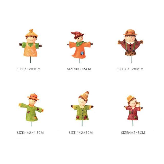 1 Pcs Mini Resin Scarecrow Figurines Anime Doll Micro Landscaping