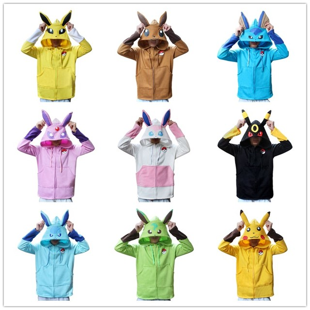 8eb404fd601b Anime Pokemon Go Pikachu Umbreon Ears Hoodies halloween costume for Women  Men Cosplay Costumes Adult Unisex Hoodies Sweatshirt