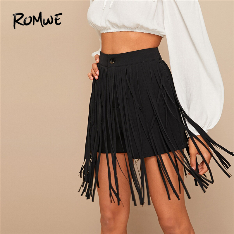 ROMWE Black Solid Fringe Detail   Shorts   Women Summer Button Fly High Waist Bottoms Bohemian Streetwear Plain Highstreet   Shorts