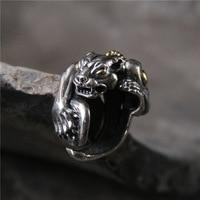 الفضة s925 الفضة النقية بالغت الاستبداد شخصية نمر رجل حلقة التايلاندية الفضة استعادة سبل القديمة عصابة