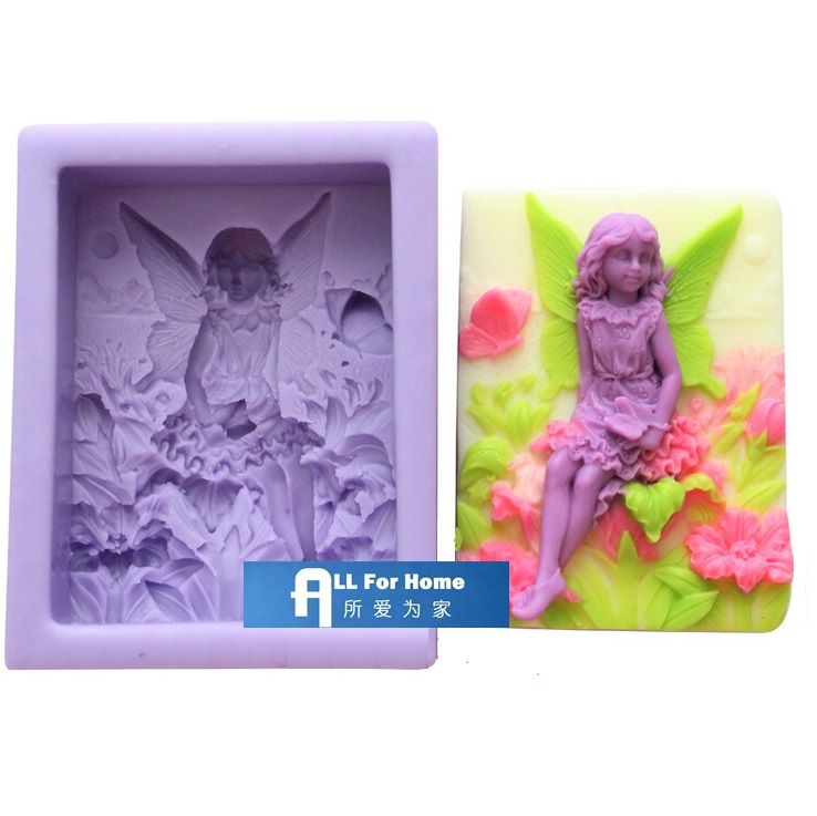 3.5inch Fairy Flower Angel Butterfly Square Silicone Soap DIY Mold Polymer Clay Craft Art 3D Handmade Soap Mold Candle Mould
