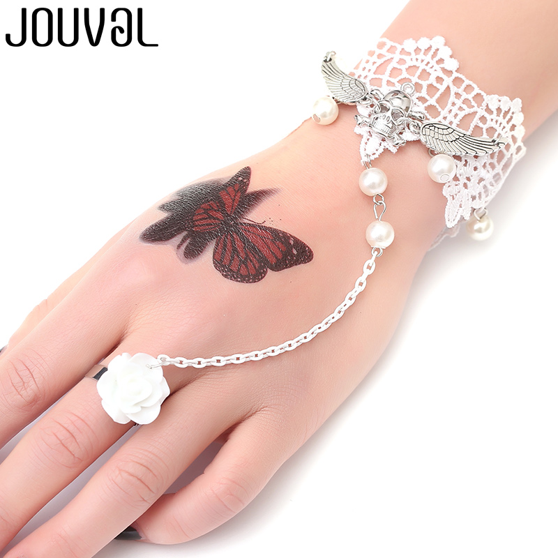 JOUVAL Gothic Bracelet for Women White Lace Finger connect Chain Bracelet&Bangle Skull Charm Steampunk Jewelry Lady Accessory