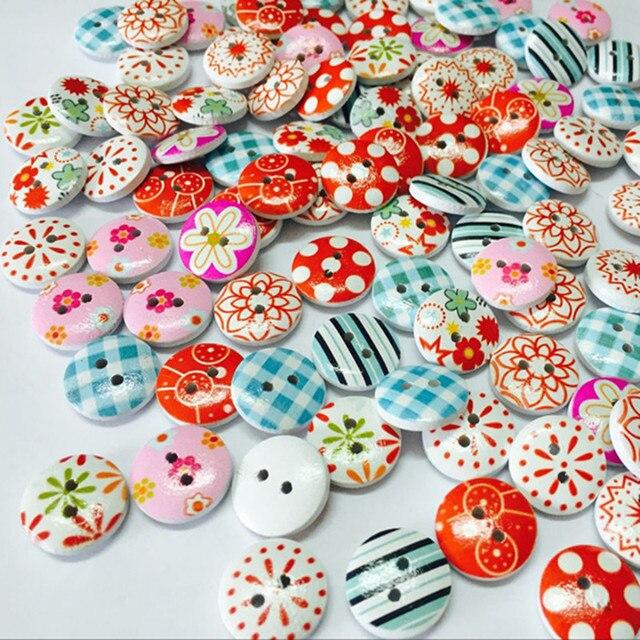 100 Piezas Botones Coloridos Diy Decoraciones De Madera Artesanía De Madera Para Alfileres Botones Colgantes Decoraciones De Fiesta De Navidad